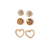 FOREVER 21 Rhinestone & Heart Earring Set Gold/Peach One