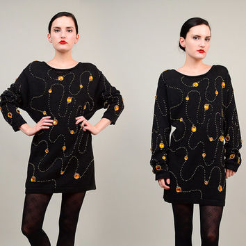 80s Black Embellished Sweater Beaded Gemstone Dress 1980s Slouchy Oversize Cotton Knit Jumper Tunic Top Small XS S
