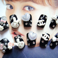 Fake japan gyaru cute chanel cc bunny usamimi rabbit Nails. kawaii DIY fake nails.for every princess