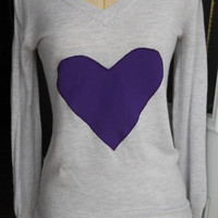 Gray Sweater with Purple Heart Applique