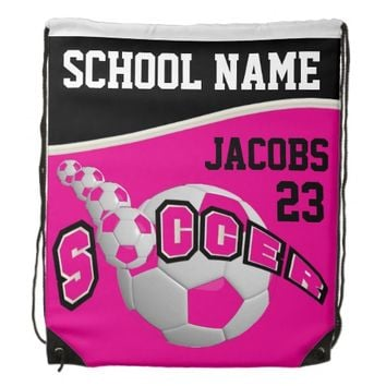 Personalize Soccer Team Backpacks | Hot Pink