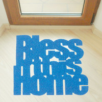 """Design door mat """"Bless this home"""". Personalized rug."""