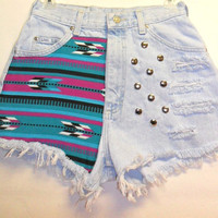 Vintage Lee High Waist Denim Shorts Southwestern  Print  with Studs Waist 26  inch