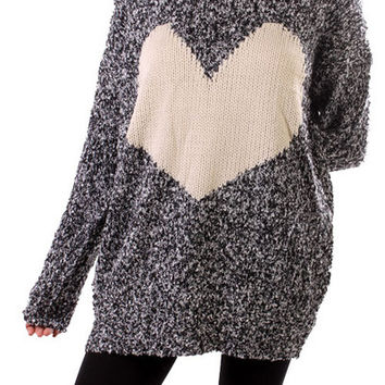 Knit Heart Sweater Tunic | Posh Boutique