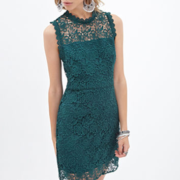 FOREVER 21 Floral Lace Dress Green