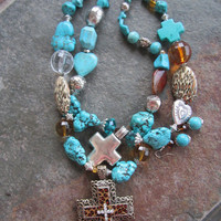 Turquoise Chunky Double Strand Filigree Animal Print Cross Necklace