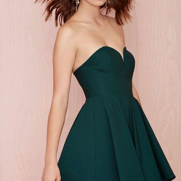 Nasty Gal Sweetheart Skater Dress - Hunter Green