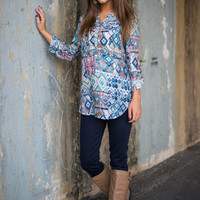 Wild At Heart Blouse, Teal/Blue