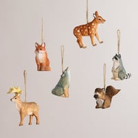 Wooden Woodland Animals Ornaments, Set of 6 - World Market