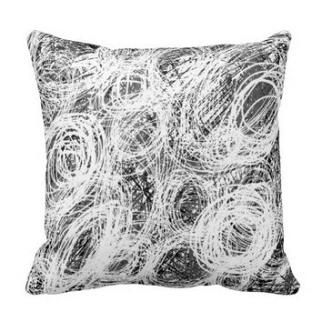 Get Bent (Black & White Abstract) Pillow by KCS