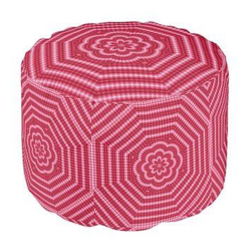 Pink-Red Digi Art-2 Pouf Seat