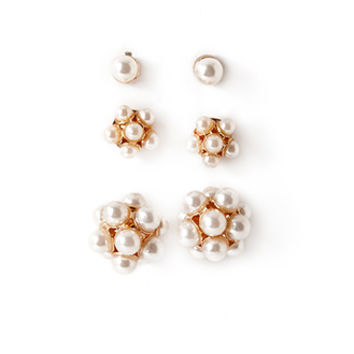 FOREVER 21 Faux Pearl Stud Set Cream/Gold One