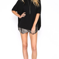 BAT WINGED KNIT TOP WITH SIDE SLITS - BLACK