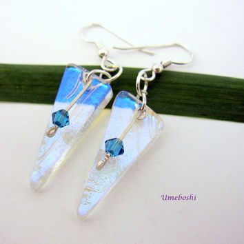 Stunning Crystaline Dichroic Glass Earrings - Handmade