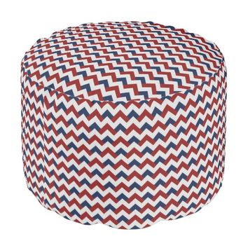 Red White and Blue Chevron Pouf Seat