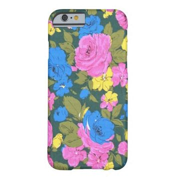 Vintage Pink Blue Floral pattern iPhone 6 case