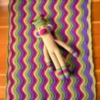 Monkey and Ripple Baby Blanket - In Stock