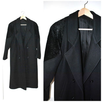 long black WOOL coat / vintage 80s double breasted MINIMALIST boxy voluminous menswear inspired high FASHION winter coat