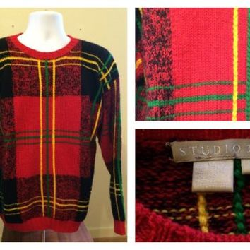 Men's Studio 121 UGLY Sweater Cosby 100% Wool Vintage 80's Large L Christmas Red