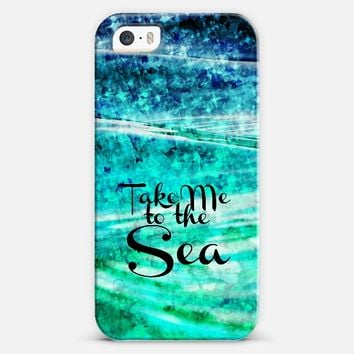 TAKE ME TO THE SEA - Typography Teal Turquoise Blue Green Underwater Adventure Ocean Waves Bubbles Beach Adventure Abstract Painting iPhone 5s case by Ebi Emporium | Casetify