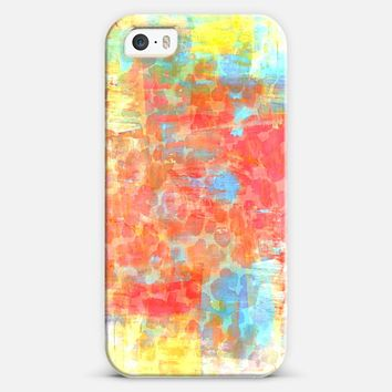 PASTEL JUNGLE - Pretty Girly Chic Animal Print Light Sweet Pink Coral Oange Yellow Turquoise Blue Abstract Acrylic Painting Stylish Chic Sweet Colorful iPhone 5s case by Ebi Emporium | Casetify