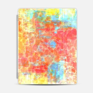 PASTEL JUNGLE - Pretty Girly Chic Animal Print Light Sweet Pink Coral Oange Yellow Turquoise Blue Abstract Acrylic Painting Stylish Chic Sweet Colorful iPad 3/4 case by Ebi Emporium | Casetify
