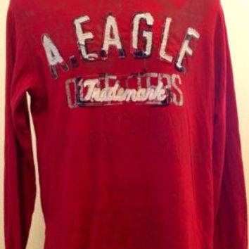 American Eagle Men's Vintage Fit L Crew Neck Red Long Sleeve Stitch Lettering
