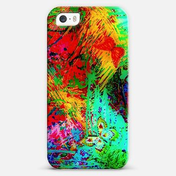 BUTTERFLY FEVER - Bold Neon Intense Rainbow Abstract Floral Colorful Splash Nature Spring Summer Butterflies Whimsical Red green Blue Black Painting iPhone 5s case by Ebi Emporium | Casetify