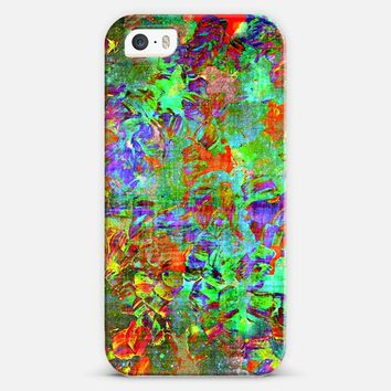 PETAL NEBULA - Neon Lime Grass Green Crimson Cherry Red Blue Yellow Bold Colorful Modern Flowers Galactic Cosmic Floral Abstract Cosmos Painting iPhone 5s case by Ebi Emporium | Casetify