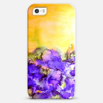 INTO ETERNITY in YELLOW AND LAVENDER PURPLE - Colorful Bold Abstract Watercolor Sunshine Floral Field Nature Girlie Whimsical Painting iPhone 5s case by Ebi Emporium | Casetify