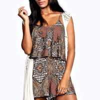 Molly Double Frill Ethnic Print Playsuit