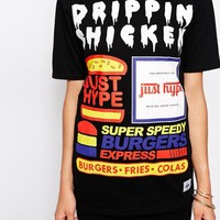 Hype | Hype X ASOS Fats Food T-Shirt With Drippin' Chicken Print Co-Ord at ASOS