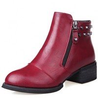 Faux Leather Beaded Ankle Booties - OASAP.com