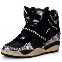 Black Snakeskin Lace-Up Beaded Wedge Sneakers - OASAP.com