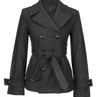 Charcoal Double Breasted Peacoat - Gray