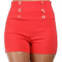 Coral High Waisted Button Shorts
