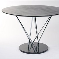 Stacy Contemporary Round Wood Top Marble Base Dining Table, Contemporary Dining Table: Nyfurnitureoutlets.com