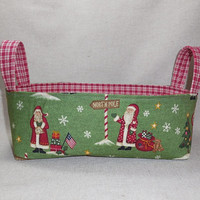 Rustic Santa Red And Green Christmas Shallow Fabric Basket With Handles