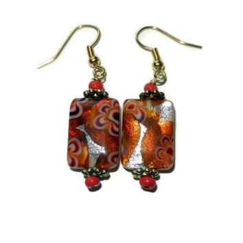 Orange and Silver Millefiori Floral Dangle Earrings
