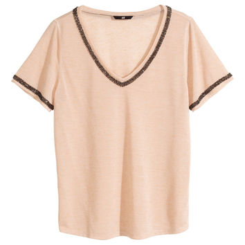 H&M - Beaded Jersey Top