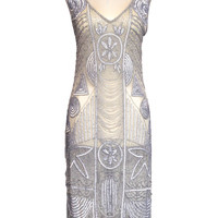 """1920s """"The Bosley"""" Silver Beaded Flapper with Beaded Fringe Dress - Cabaret Vintage"""