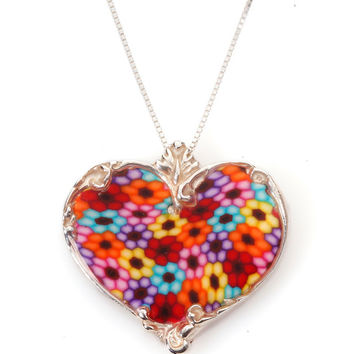 Colorful Millefiori Pendant Necklace - Heart Shape - Polymer Clay Jewelry - Israeli Designer - FREE SHIPPING