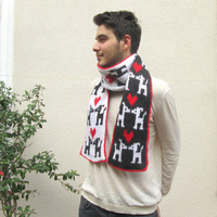 Long Scarf, Double side, Dog in love pattern, Neck warmer, Valentine day gift, For him or her, Unisex, Very soft wool, Black, White, Red