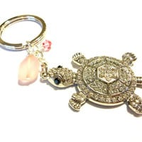 Pretty Pink Rhinestone Turtle Keychain, Seaglass Keychain Made With Pink Swarovski Crystal Element Bicone Bead, Pink Bling Gift