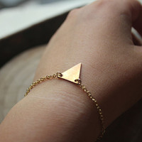gold  triangle bracelet-geometric jewelry-tiny gold modern minimalist