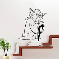 Wall Decal Vinyl Sticker Decals Art Home Decor Murals Star Wars Yoda Children Nursery Room Bedroom Office Window Dorm AN233