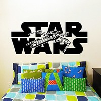 Wall Decal Vinyl Sticker Decals Art Home Decor Murals Star Wars Logo Xwing X-Wing Fighter Children Nursery Room Bedroom Office Window Dorm AN237