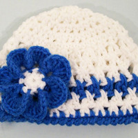 Crocheted  Girls White  Beanie Hat with Blue Ruffled Flower -Baby Girl Hat-Baby Shower Gift-Newborn to 5T--#312