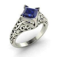 Sapphire Ring in 14k White Gold | 1.01 ct. tw. | Princess Cut | Vesna | Diamondere