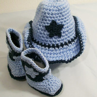 Western Hat and Boots -Baby Boy Cowboy Gift Set-Windsor Blue and Light Blue--Baby Shower Gift-#218